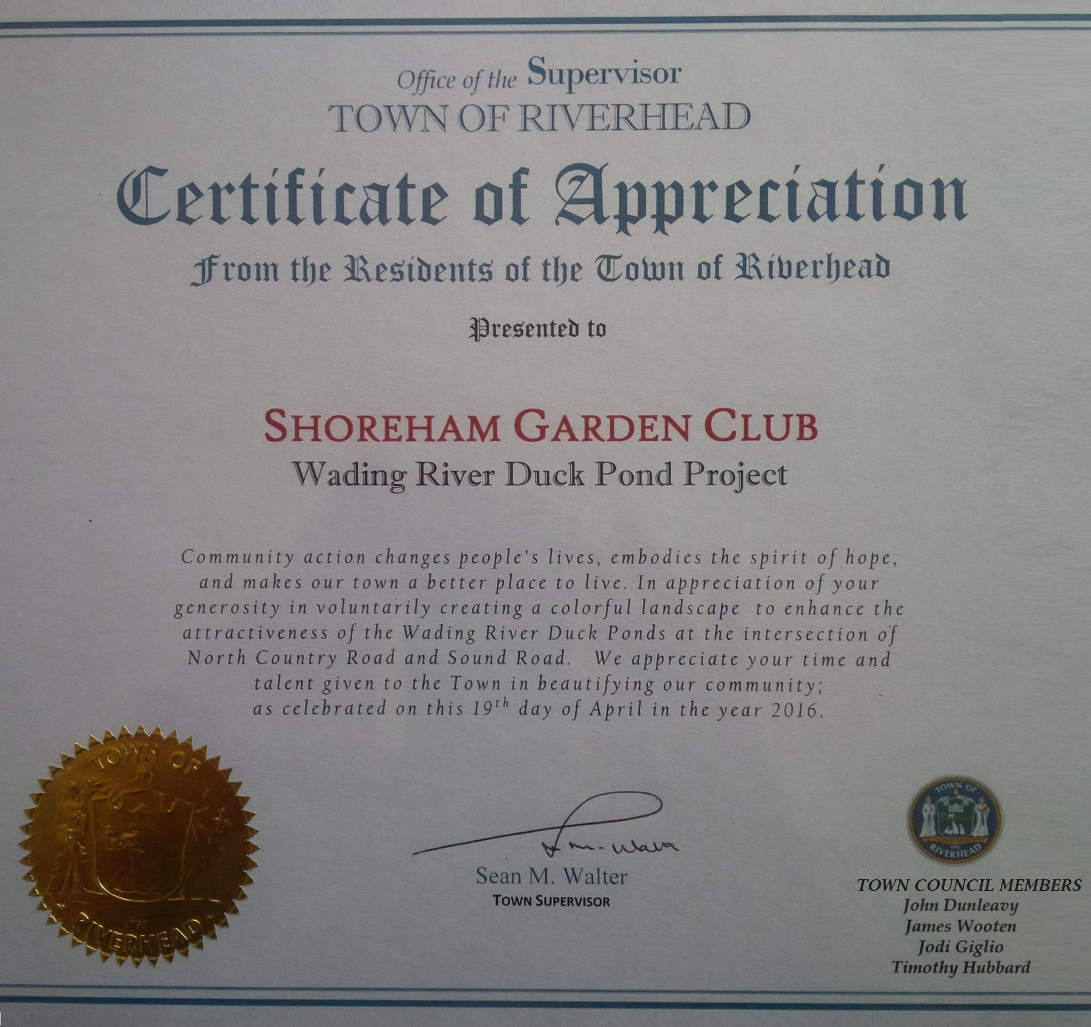 Town of Riverhead Certificate of Appreciation